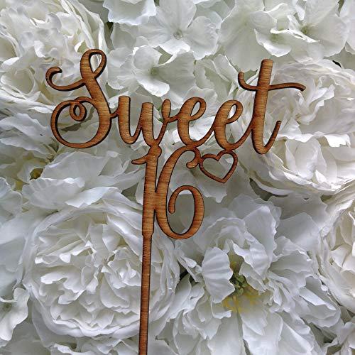 Sweet 16 Cake Topper, Happy Sixteen Verjaardag, Houten of Acryl Afwerking, 16e Verjaardag Cake Decor #3