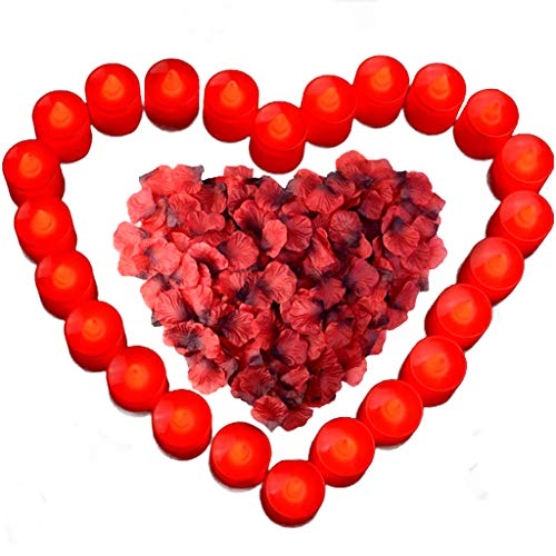 obmwang 24 Pack LED Tea Light Candles Realistic Flameless Tealight Candle and 1000 Pcs Artificial Dark Red Silk Rose Petals, Ideal for Valentine's Day, Honeymoon, Wedding and Festival Celebration