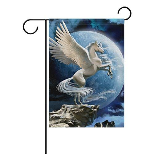 ALAZA Bandeira de Jardim de Unicórnio Voador com Nuvens da Lua Dupla Face Decorativa 30,48 x 45,72 cm