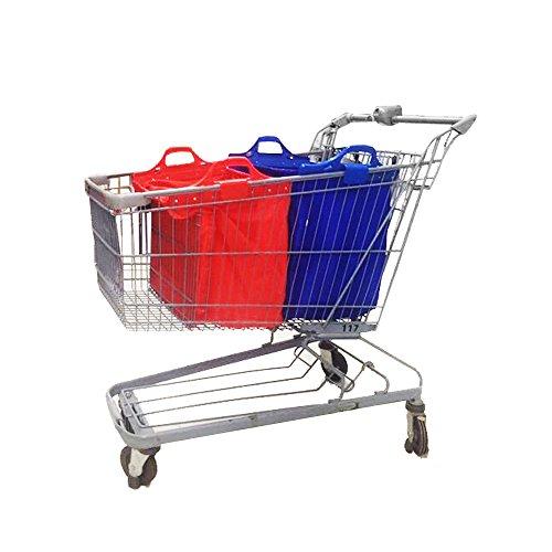 VAIIGO Lot de 2 grands sacs à provisions réutilisables et solides à attacher au chariot (Rouge/Bleu)