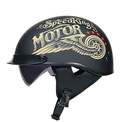Cascos Abiertos Half Helmet Medio Casco de Motocicleta, Certificación Retro piloto Casco de la Motocicleta del Crucero de ECE for Vespa Medio Casco for Hombres y Mujeres F,XL(61~62cm)