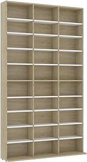 vidaXL CD Cabinet Storage Rack Display Shelf Bookshelf Bookcase Stand Book Multimedia DVD Organiser Living Room White and ...