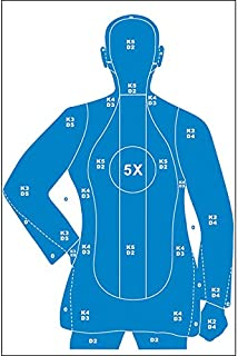 Full Size B-21X Target Police training silhouette with 5X-Ring Blue Size: 35