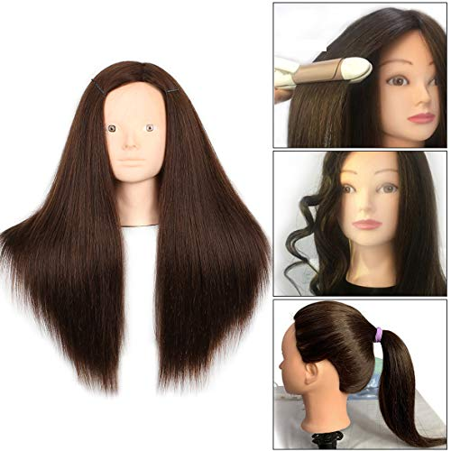 20 Inch 60% Human Hair Training Practice Head Styling Cutting Mannequin Manikin Head with Free Clamp Holder Brown Hair Makeup Practice head