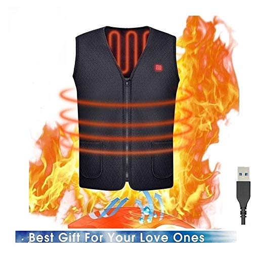 Q&M Vest met USB-verwarming, verstelbaar, elektrische temperatuur, 5 V, verwarmd, bodywarmer voor skiën, wandelen