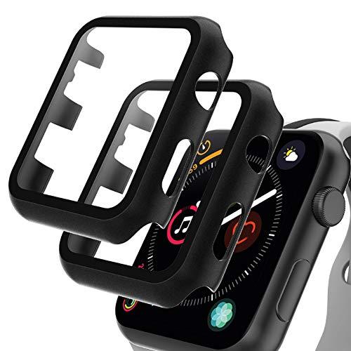 GeeRic 2PCS Pellicola Vetro Temperato Compatibile per Apple Watch 44mm Serie 6/5/4/SE Cover Anti-Urti Pellicola Copertura Completa Custodia Compatibile per Apple Watch 44mm Serie 6/5/4/SE Nero