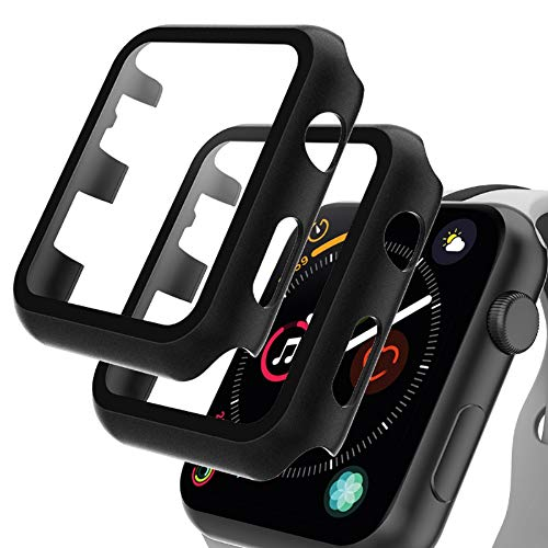 GeeRic 2PCS Pellicola Vetro Temperato Compatibile per Apple Watch 44mm Serie 6/5/4/SE Cover Anti-Urti Pellicola Copertura Completa Custodia Compatibile per Apple Watch 44mm Serie 6/5/4/SE Nero