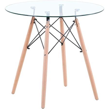 GOLDFAN Table de Salle à Manger Petit Ronde Table de Cuisine Table de Salon en Verre Moderne Nordique 80cm