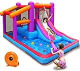 TiliKuly Kids Inflatable Bounce House with 450w Blower Inflatable Water Slides Bouncy House for Kids Outdoor Spray Water Pool Purple Jumping Bounce Castle Party Backyard Kid Inflatable Bouncers House