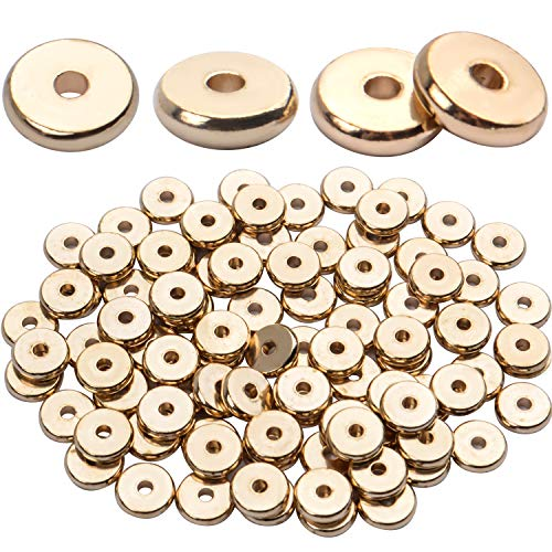 100pcs 8mm Flat Round Rondelle Spacer Beads Disc Spacers Loose Beads Jewelry Metal Spacers for DIY Bracelet Necklace Crafts,Gold