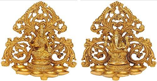 Brass Lakshmi and Ganesha Statue Hindu God Ganpati Idol Oil Lamp Diya Handmade Indian Art...