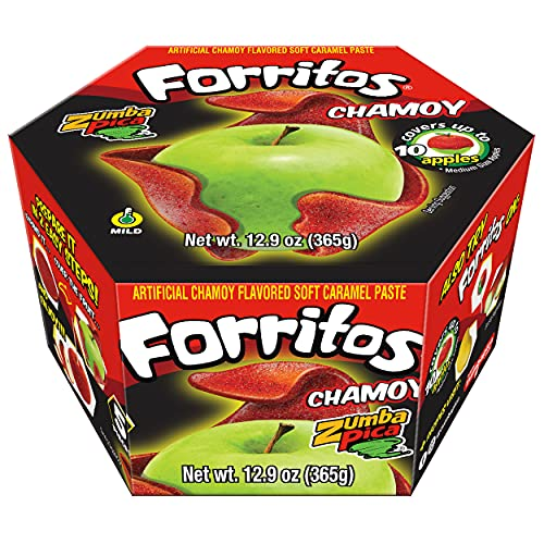 Zumba Pica Forritos Chamoy - Chamoy Flavor Soft Caramel Paste for Apples - Chamoy Paste to Cover Apples - Chamoy Mexican Candy - Caramel Apple Wraps - Forritos Chamoy para Manzanas (5 Count)
