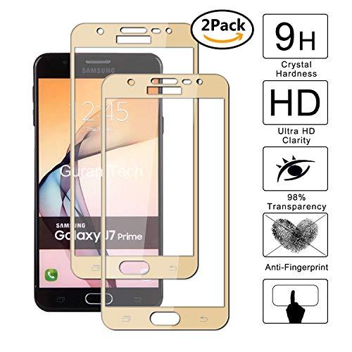 Guran [2 Paquete] Protector de Pantalla para Samsung Galaxy J7 Prime (2016 Version) [Full Coverage] Vidrio Cristal Templado 100% Cobertura Completa Film - Dorado