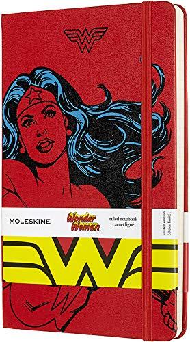 Moleskine - Cuaderno Wonder Woman Edición Limitada, Tapa Dura, Goma Elástica y Páginas con Rayas, Color Rojo, Tamaño Grande 13 x 21 cm, 240 Páginas (EDITION LIMITEE)
