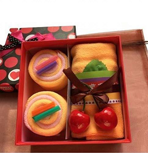 MoonFlower (ムーンフラワー) ギフト タオル お祝い かわいい スイーツ ロール ケーキ (オレンジ)