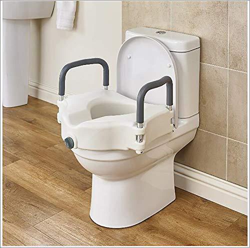WLKQ Toilettensitzerhöhung mit rutschfesten Armlehnen, Statische Belastung 150kg, für Taillen- und Beinstörung, für ältere Menschen, Behinderte, eingeschränkter Mobilität