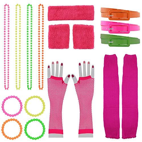 Foxxeo 18 teiliges 80er Jahre Neon Damen Kostüm Set für Fasching & Karneval - Ketten, Schweißbänder, Netzhandschuhe, Armbänder, Gürtel, Stulpen