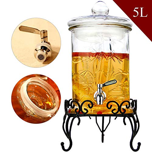 HYXQYJP 5L Glazen Drank Dispenser met Lekvrije Spigot Stevige Stand Glas Deksel Perfect voor Juice/Bier/Punch/Iced Cold Drinks