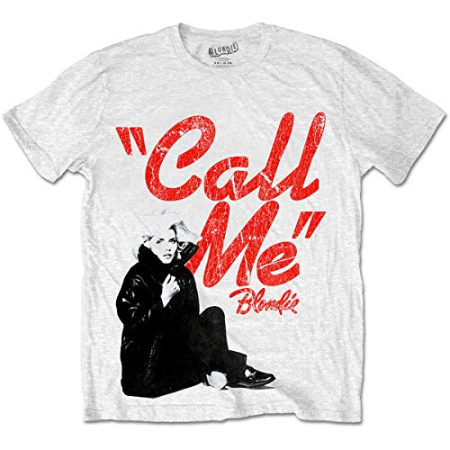 Blondie Men's Call Me T-Shirt, Whote, S to 2Xl