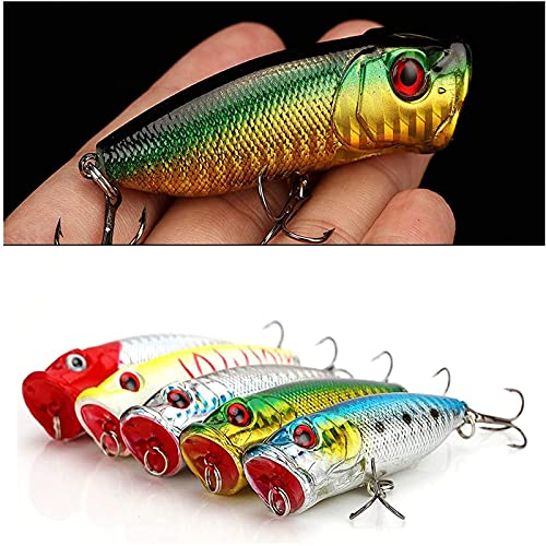 DAMIDEL 5 Pcs 2.75in/12g Popper Fishing Lures Fishing Lure Baits Kit Crankbait Minnow Hard Lure with Treble Hooks for Saltwater Freshwater Bass Trout Walleye Carp