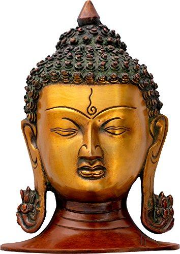 Exotic India Tête de Bouddha, Empreint Sénérité, Double Chola, Taille : 4,7 x 5,8 x 8.3