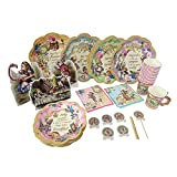 ASVP Shop Alice in Wonderland Party Supplies Set Great for Mad Hatter Tea Party Plates Cups Napkins Decor