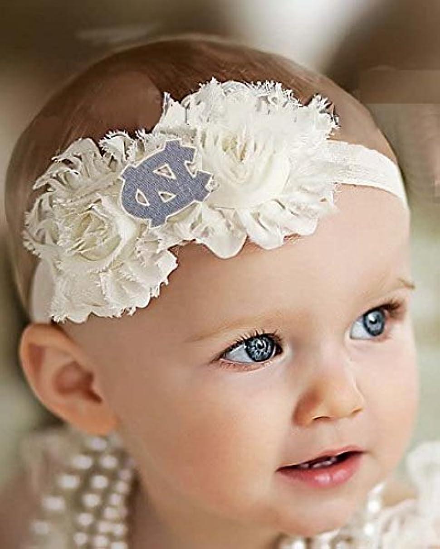Future Tailgater North Carolina UNC Tar Heels Baby/Toddler Shabby Flower Hair Bow Headband (Newborn - 3 Months/ 13