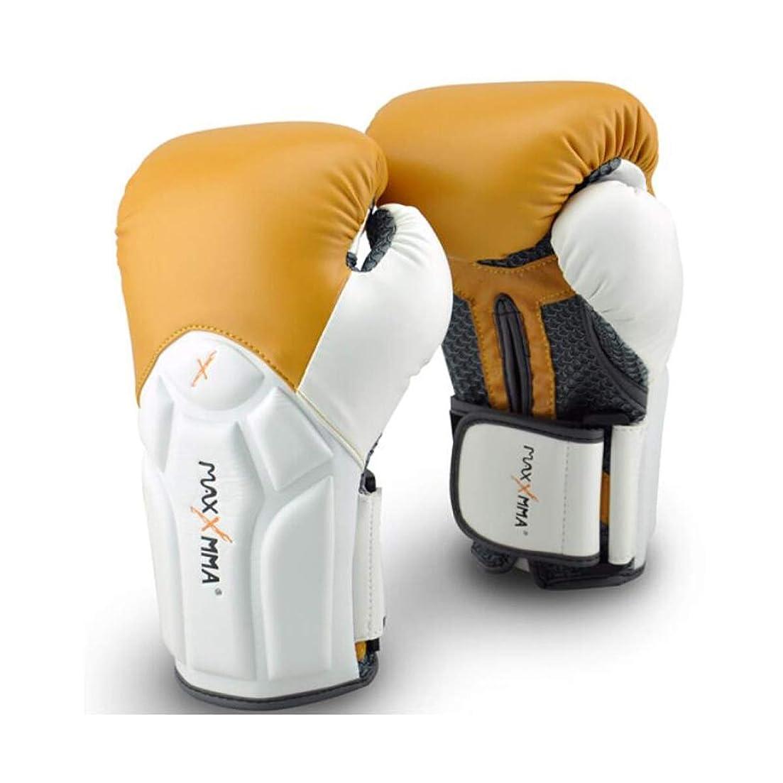 トランジスタ検査官故意のボクシンググローブ、フィットネストレーニングMuay Thai Gloves、10オンス。白い包帯