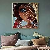 Geiqianjiumai Dibujos Animados Lindos Carteles e Impresiones Imprimir Retrato Moda niña hogar lienzos Pintura sin Marco 50x50cm