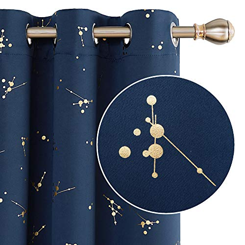 Deconovo Thermal Insulated Window Treatment for Living Room Blackout Curtain Foil Printed Constellation Pattern Curtains Grommet Navy Blue 42 x 63 inch