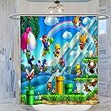 Trelemek Cortina de ducha Super Mario Bros Gameplay, 183 x 183 cm, impermeable, con 12 ganchos de plástico, lavable