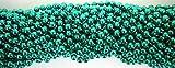 33 inch 07mm Round Metallic Green Mardi Gras Beads - 6 Dozen (72 Necklaces)