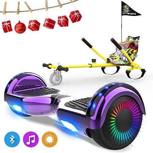 NEOMOTION Pack de Hoverboard de 6.5 Pulgadas y Hoverkart Patinete Eléctrico con Bluetooth LED Flash Hoverboards Brillante Asiento Sólido para Scooter Eléctrico Regalo y Juguete para Niños