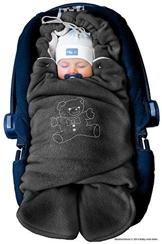 ByBoom Baby Manta arrullo de invierno para bebé, es ideal para sillas de coche (p.ej. de las marcas Maxi-Cosi y Römer), para cochecitos de bebé, sillas de paseo o cunas; LA MANTA ARRULLO ORIGINAL CON EL OSO