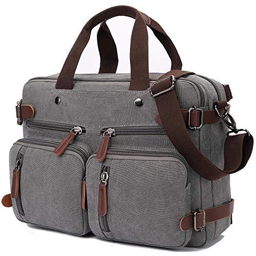 Convertible Laptop Backpack 17.3 Inch Messenger Bag for Men/Women (17.3 Inch, Grey)