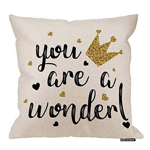 QUEMIN Quote Pillow Case,Funny Girl Slogan You Are A Wonder Cotton Linen Polyester Decorative Home Decor Sofa Couch Desk Chair Bedroom 18x18inch