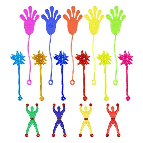 TOYMYTOY 72 Pcs Niños Stretchy Sticky Toy Set Incluyendo 24 Manos Pegajosas 24 Climber Hombres 24 Martillos Pegajosos