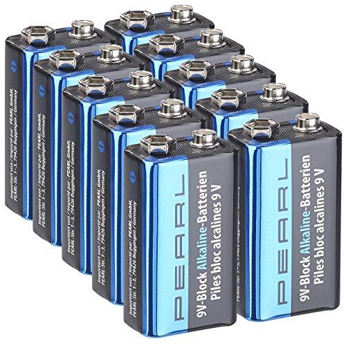 PEARL Longlife-Batterien: 10er-Set 9V-Block Alkaline-Batterien (Blockbatterie 9V-Block)