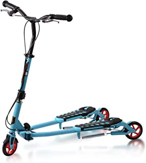 MOM Outdoor Sports Scooter Kick,Children's Scooter Over 6 Year Old, Pu Wheel Push Swing Slider Wiggle Trike Striker Drifter Scooter for Kids, Boys Girls Child Toy Balance Car Mini,Blue