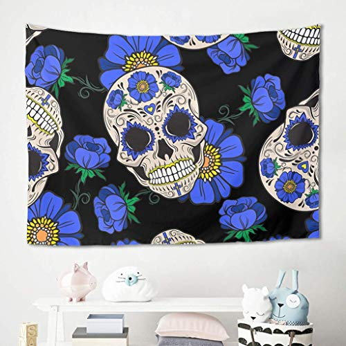 Tapiz para colgar en la pared, diseño de calavera con flores azules, manta de picnic y playa, esterilla de meditación para yoga, colcha de pared, color blanco, 100 x 150 cm