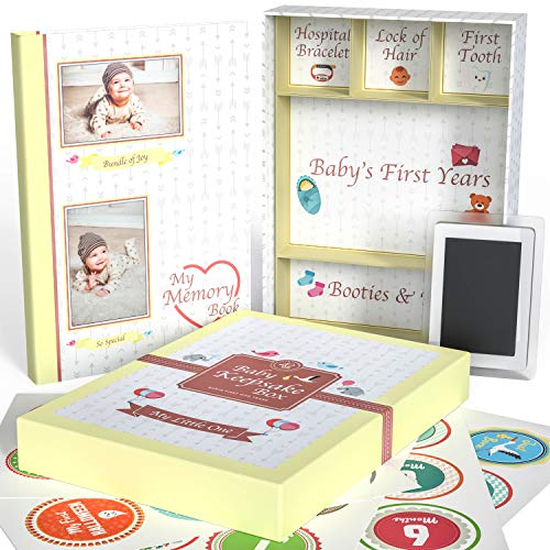 Little Growers Baby Memory Book with Keepsake Box, Baby Milestone Stickers and Baby Footprint Kit - Not Just a New Baby Scrapbook or Photo Album, But 5 Baby Shower Gifts in 1, for Newborn Boy or Girl