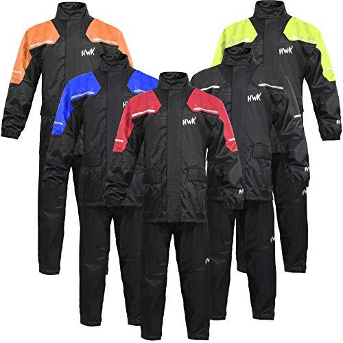 HWK Motorcycle Rain Suit For Men & Women Gear Jackets & Pants Reflective Waterproof Rainsuit (Hi-Vis...