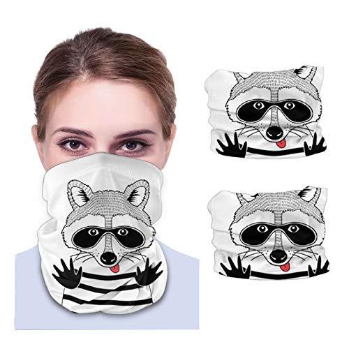 Doodle retrato mapache ladrón negro unisex polaina para el cuello tela lavable pasamontañas reutilizables protección UV cubierta facial para viajar y caminar 2 piezas