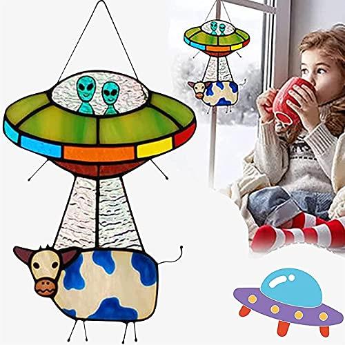 SKYWPOJU Colgante OVNI pintado,panel de ventana de atrapasueños de vidrieras de extraterrestres y vacas,colgante creativo de abducción de vaca OVNI,atrapasueños para ventana colgante, decoración del h