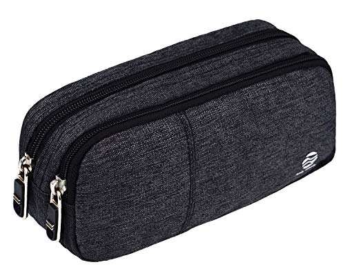 Large Pencil Case Office Supplies - Durable Student Office Pen Holder Organizer Stationary Bag with Double Zippers Multi Big Capacity Compartments for Adults Girls Boys (Grey)
