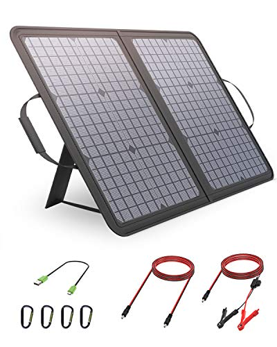 ALLPOWERS 50W 12V 18V Monocrystalline Solar Panel Zippered Bag Foldable and Supportable Solar Charger Waterproof for Laptop Smart Phone Tablet and Camping Travel