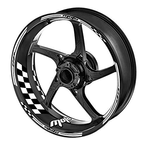 KETABAO 17 inch Rim Stickers Wheel Decals Compatible with MT-07 09 10 FZ07 FZ09 FZ10 YZF R6 YZF R1 1000 FJ-09 White