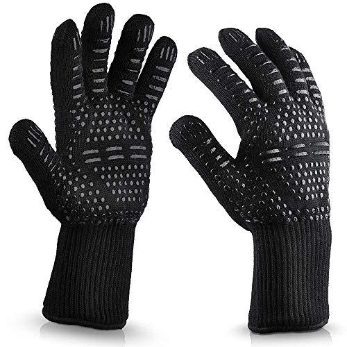 AVANA Grillhandschuhe Ofenhandschuhe Hitzebeständig bis zu 800 ° C, Backhandschuhe Kochhandschuhe für Backen Kochen BBQ Handschuhe Universalgröße - Schwarz