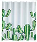 WENKO Duschvorhang Cactus - Textil , waschbar, wasserabweisend, mit 12 Duschvorhangringen, Polyester, 180 x 200 cm