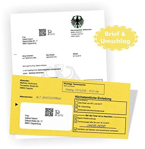 Geburtstagseinladungen Einladungsbriefe zum Geburtstag - Brief & Umschlag witzig und originell mit Ihrem Text bedruckt